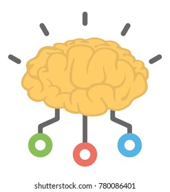 A brain with a network symbolising flat icon conceptual design of artificial intelligence