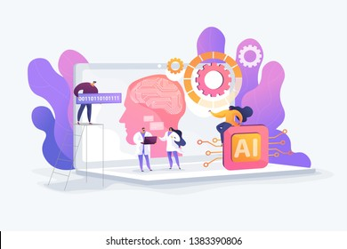 Brain with neural network on laptop and scientists, tiny people. Artificial intelligence,machine learning, data science and cognitive computing concept. Vector isolated concept creative illustration.