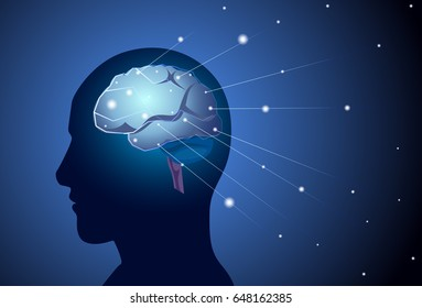 Brain Neurons Activity Medicine Thinking Intelligence Concept Banner With Copy Space Flat Vector Illustration