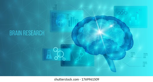 Brain neurosurgery concept with MRI scan, neurons system, healthcare icons, infographic elements. Scientific banner in blue colors with polygon background. Medical hologram vector illustration