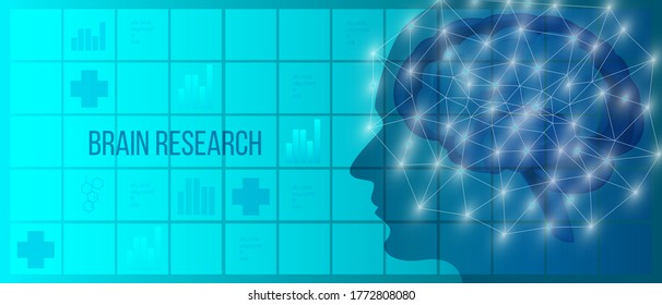Brain neurosurgery vector illustration with abstract human head, neuron system with polygons. MRI medical diagnostic concept in blue colors with healthcare icons, squares on the background.