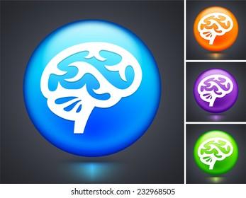 Brain on Blue Round Button