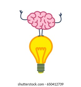 Brain on idea. Vector concept illustration of brain standing on lighting bulb   flat design linear infographic icon colorful on white background