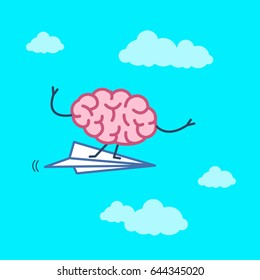 Brain on right direction. Vector concept illustration of brain flying on paper plane | flat design linear infographic icon on blue background
