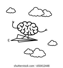 Brain on right direction. Vector concept illustration of brain flying on paper plane   flat design linear infographic icon black on white background