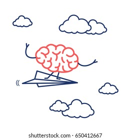 Brain on right direction. Vector concept illustration of brain flying on paper plane   flat design linear infographic icon red and blue on white background