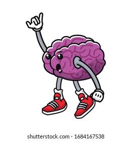 brain organ human comic character vector illustration design
