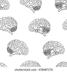 Brain pattern, seamless white and black hand drawn illustration, vector