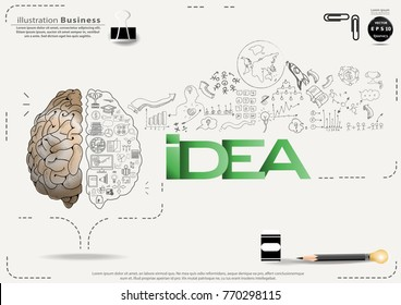 Brain - Pencil Sketch - Icon Business - text Idea, modern Idea and Concept Vector illustration Business.