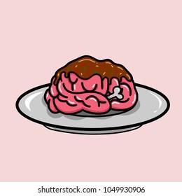 Brain in plate, zombie eat brain