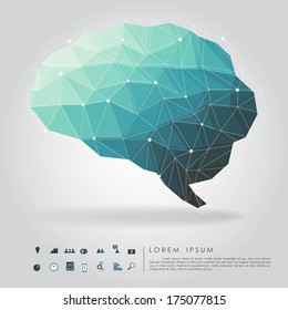 brain polygon with business icon vector