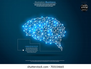 Brain - Polygon  Shape  -  modern design Idea and Concept  Vector illustration Business  Infographic template.
