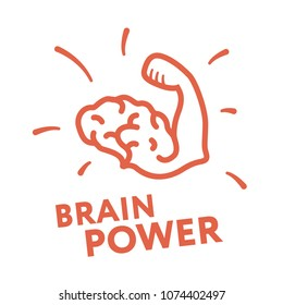 Brain Power Hand Muscle Biceps Brainstorm Creative Thinking Logo Template