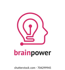 Brain power. Head silhouette with light bulb inside. Brainstorm and creative idea concept. Vector icon.