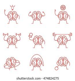 Brain power set training vector illustration. Powerful intelligence health cardio sports gymnastic exercises