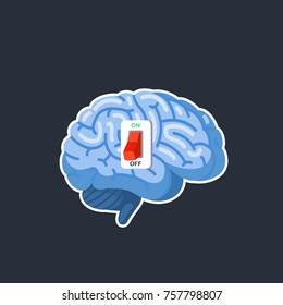Brain power switch, off does not work, sleeps. Modern flat style thin line vector illustration isolated on dark background.