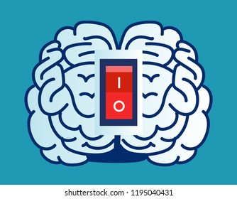 Brain power switch, turned on working fine, awake. Switch off negative thinking concept. isolated on blue background. Eps 10 Vector illustration Minimalist white blue flat business style modern design