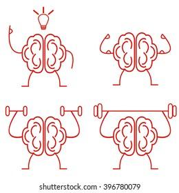 Brain power. Brain training vector illustration. Powerful