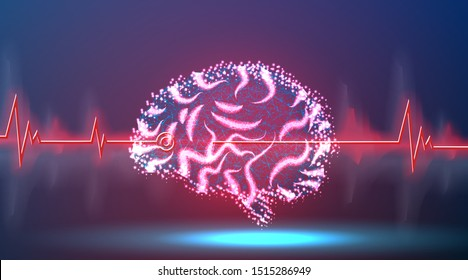 brain processes technology, creative idea concept. Wave pulse. Abstract low poly, Triangle, dot, line, polygon. Shine blue background, Vector illustration
