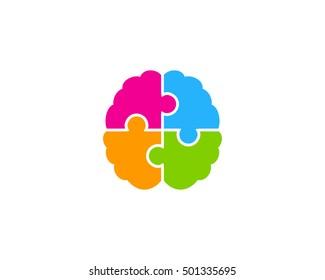 Brain Puzzle Logo Design Template