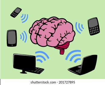 Brain with radiation from electronic devices