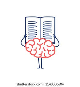 Brain reading book or newspaper. Vector concept illustration of learning informed mind | flat design linear infographic icon rad and blue on white background