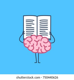 Brain reading book or newspaper. Vector concept illustration of learning informed mind   flat design linear infographic icon on blue background