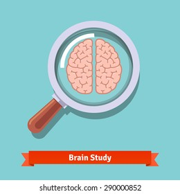 Brain research and education concept. Zooming magnifying glass. Flat vector illustration.