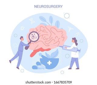 Brain research, neurology and neurosurgery concept. Doctor standing at big brain. Idea of health and medical treatment. Flat vector illustration