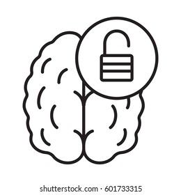Brain resources revelation linear icon. Intellect potential. Thin line illustration. Human brain with open lock contour symbol. Vector isolated outline drawing