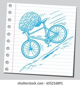 Brain riding bike