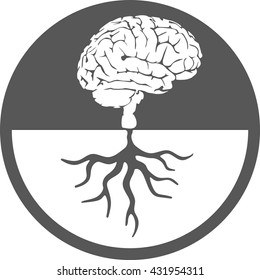 Brain root icon tree knowledge  medical environmental psychological