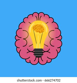 The brain schematically and the idea arising in it is presented in the form of a light bulb