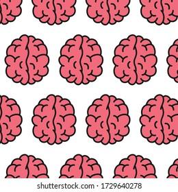 brain seamless doodle pattern, vector illustration