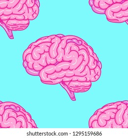 brain seamless pattern, textile fashion, fashion vintage style, vector illustration