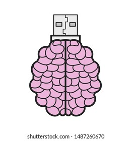 Brain Shaped Flash Drive Flat Icon, Memory Stick Vector Logo Design Template. Vector Illustration For T-shirts , Flyers , Textiles