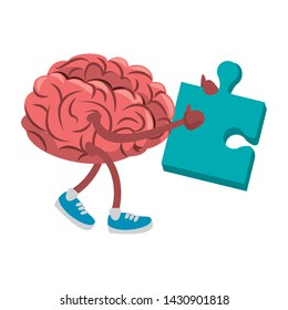 Brain with shoes holding puzzle cartoon vector illustration graphic design