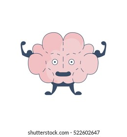 Brain Showing Strong Biceps Comic Character Representing Intellect And Intellectual Activities Of Human Mind Cartoon Flat Vector Illustration