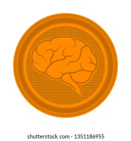 Brain sign on a metal coin