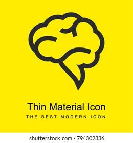 Brain speech bubble bright yellow material minimal icon or logo design