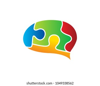 Brain Speech Bubble Puzzle Logo In White Isolated Background
