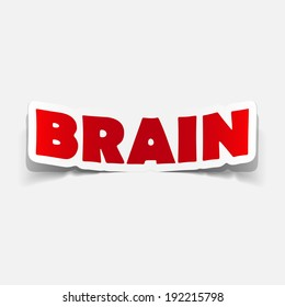 brain sticker, realistic design element
