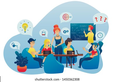 Brain storm with the team. Office workers men and women. Business conference, meeting. People work. Job, teamwork, group idea. Flat design. Vector illustraion. Isolated on the white background.