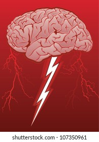 Brain Storm/Human Brain with Lighting Bolt