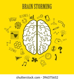Brain storming design, flat style  concept of creativity, education