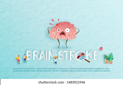 Brain stroke disease. Heart awareness concept. Atherosclerosis stages from the bad behavior of health care. Doctor give treatment, Suitable For Wallpaper, Banner, Background. Vector Illustration