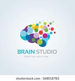 Brain Studio Logo,Vector Logo Template