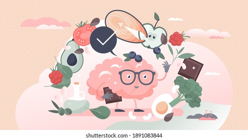 Brain superfoods power as nutrition products to improve memory and thinking tiny person concept. Diet supplement for mental benefits and boost cognition learning with right eating vector illustration.