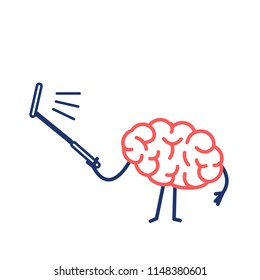 Brain taking selfie with selfie stick| flat design linear infographic icon red and blue on white background