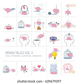 Brain tales volume 2, Vector concept illustrations set of brain in different funny situations | flat design linear icons set and infographic colorful on white background